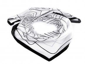 Saténový šátek s geometrickými vzory 70x70 cm