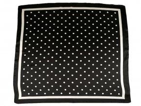 Saténový šátek s puntíky a lemem 70x70 cm