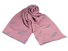 Šátek / šála plisovaná oboustranná 65x180 cm pírka