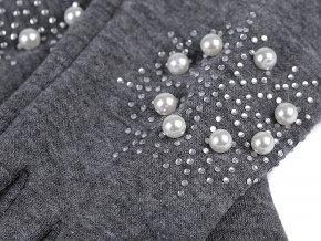 Dívčí rukavice vločka s kamínky a perlami