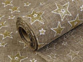 Imitace juty šíře 48 cm hvězdy