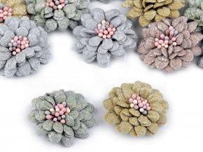 Textilní květ 3D s lurexem Ø35 mm