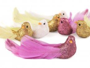 Vánoční dekorace ptáček s glitry