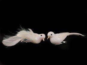 Vánoční dekorace ptáček s glitry a klipem