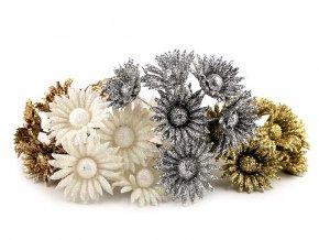 Vánoční květ na drátku s glitry
