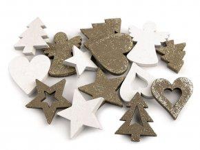 Dřevěná dekorace srdce, stromeček, hvězda, anděl s glitry