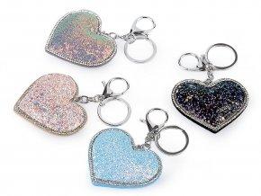Přívěsek na kabelku / klíče srdce s AB efektem