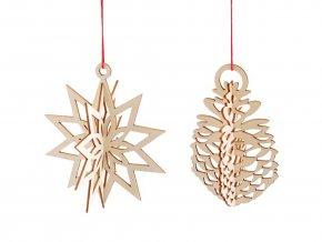 Vánoční dřevěná ozdoba / výřez 3D šiška, hvězda