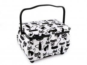 Kazeta / košík na šití čalouněný kočka, puntík