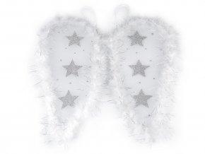 Andělská křídla s peřím a glitrovými hvězdami