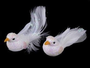 Dekorace ptáček / holubice s glitry