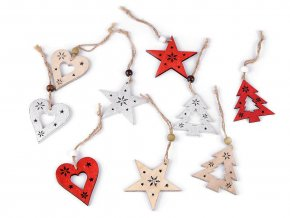 Dřevěná dekorace srdce, hvězda, stromeček