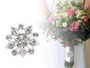 Brož / svatební ozdoba na kytice s broušenými kamínky květ, vločka