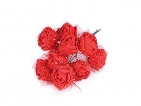 Růže na drátku / polotovar na vývazky s tylem Ø25 mm