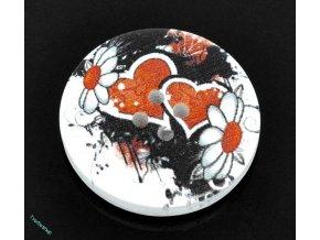 Knoflíky malované srdce 10 ks