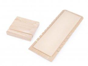 Dřevěný stojan se semišem na náhrdelníky a řetízky 10x28 cm