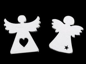 Vánoční dřevěný anděl k nalepení / aranžování