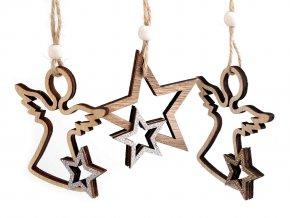Vánoční dřevěná dekorace hvězda, anděl k zavěšení