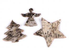 Hvězda, anděl, strom z březové kůry