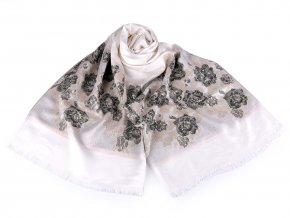 Šátek / šála typu pashmina květy růže 70x175 cm