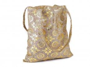 Vánoční dárková taška s ornamenty 20x21,5 cm imitace juty