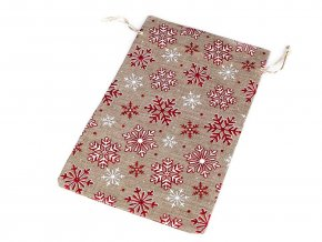 Vánoční dárkový pytlík vločky s glitry 20,5x30,5 cm imitace juty