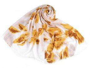 Šátek / šála květy se zlatým potiskem 85x180 cm