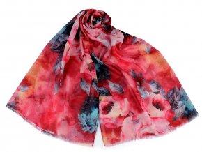 Šátek / šála květy růže 70x170 cm