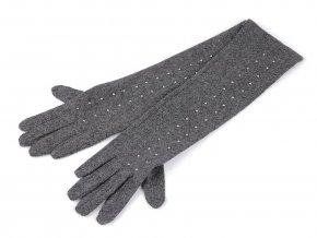 Dámské vlněné rukavice s cvočky, dlouhé