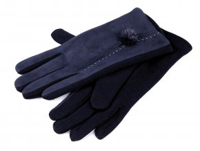 Dámské rukavice s kožešinovou bambulkou