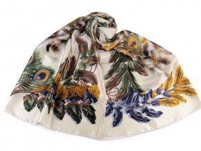 Saténový šátek / šála pírka 90x180 cm