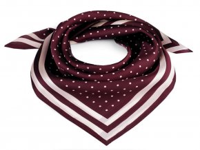 Saténový šátek s puntíky a lemem 55x55 cm