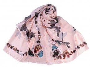 Saténový šátek / šála vážka 85x180 cm