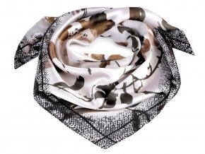 Saténový šátek květy 70x70 cm