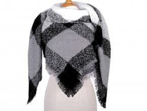 Velký teplý šátek / pléd s třásněmi 135x135 cm