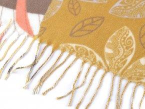 Šátek s květy a listy s třásněmi 110x110 cm