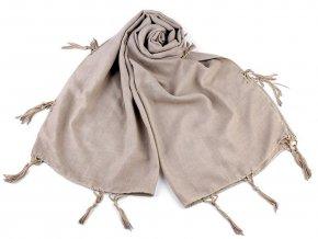 Šátek / šála jednobarevná se střapci 70x170 cm