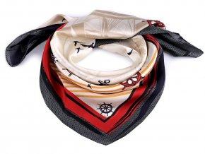 Saténový šátek námořnický 70x70 cm