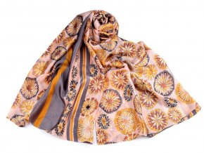 Saténový šátek / šála květy 90x180 cm