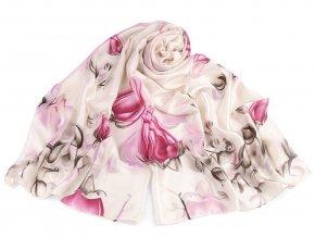 Saténový šátek / šála poupata růže 90x180 cm