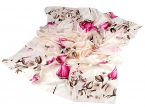 Saténová šála poupata růže 90x180 cm
