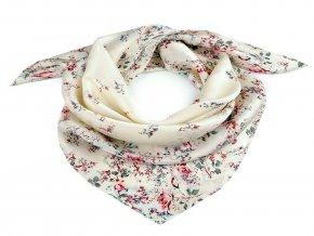 Saténový šátek květy růže 70x70 cm