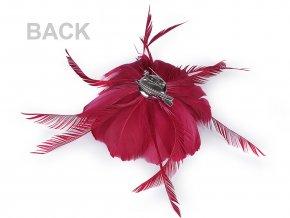 Brož / ozdoba do vlasů květ z peří