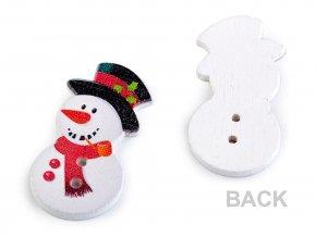 Dřevěný dekorační knoflík sněhulák