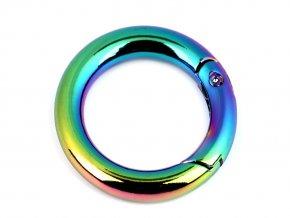 Karabina kroužek / ovál na kabelky / klíče duhová