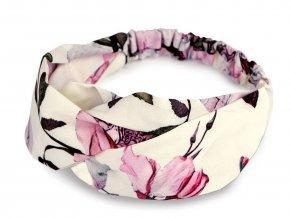 Látková čelenka pin-up překřížená s květy růže