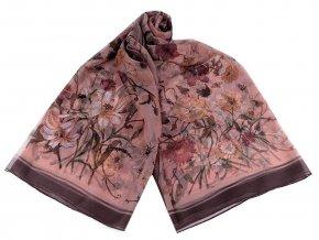 Šátek / šála květy, umělé hedvábí 135x180 cm