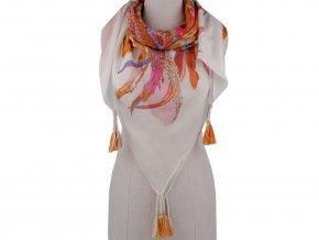 Šátek s pírky a střapci 105x105 cm