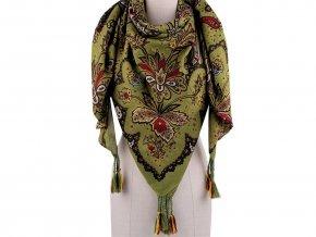 Šátek se střapci, květy paisley 130x130 cm