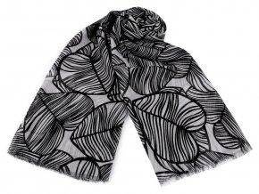 Šátek / šála tropické listy 95x185 cm
